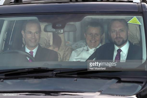 Prince Edward Earl of Wessex departs Buckingham Palace after the Queen's Christmas Lunch on December 19 2018 in London England
