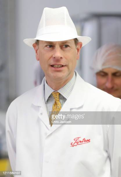 Prince Edward Earl of Wessex during a visit to Tiptree Jam Factory on March 10 2020 in Tiptree United Kingdom The Earl of Wessex celebrates his 56th...