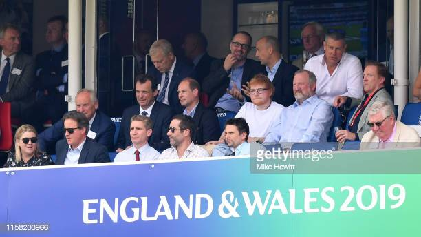 Prince Edward, Earl of Wessex finds himself sitting next to Ed Sheeran with ex prime minister David Cameron front left, actor Damien Lewis and Muse...