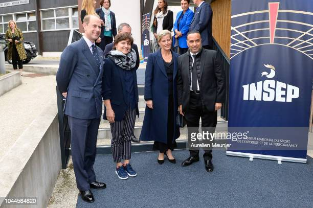 Prince Edward Earl Of Wessex French Minister of Sports Roxana Maracineanu Sophie Countess Of Wessex and Director of INSPE Ghani Yallouz visit INSEP...