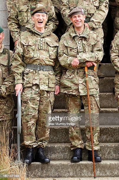 Prince Edward Earl of Wessex in his role as Royal Colonel accompanied by his Equerry Alastair Bruce poses for a group photograph with Army Reservists...