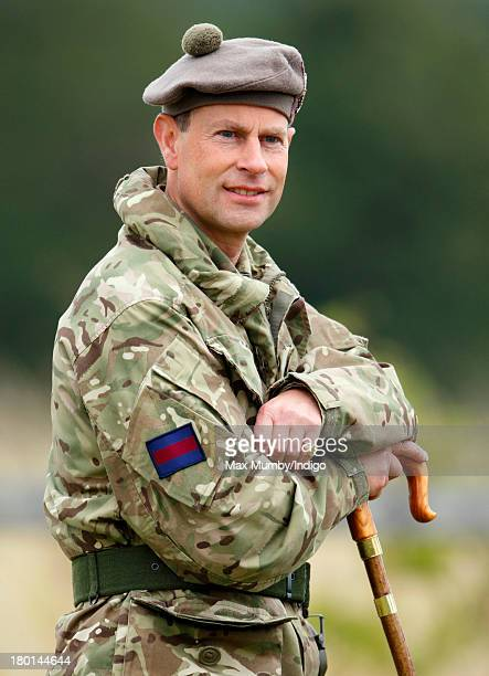 Prince Edward, Earl of Wessex, in his role as Royal Colonel, watches Army Reservists from the London Regiment undergo frontline battle specific...