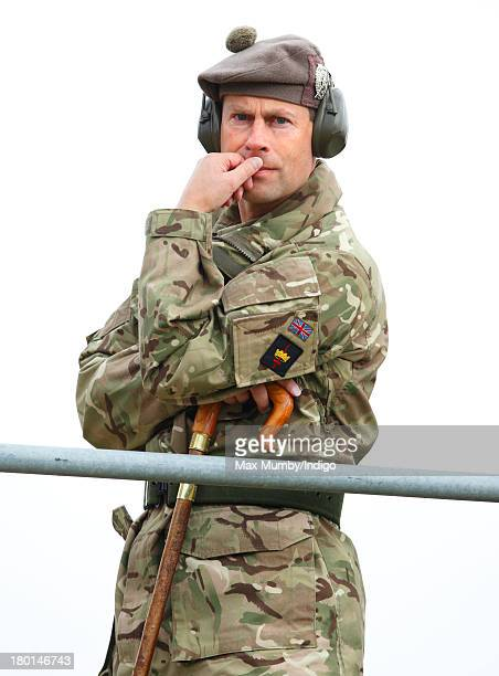 Prince Edward Earl of Wessex in his role as Royal Colonel watches Army Reservists from the London Regiment undergo frontline battle specific training...