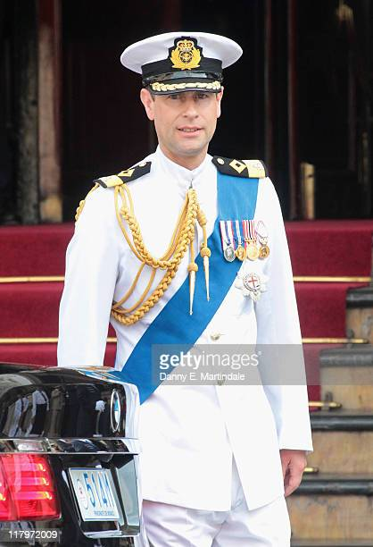 Prince Edward, Earl of Wessex is seen leaving the Hotol de Paris to attend the religious ceremony of the Royal Wedding of Prince Albert II of Monaco...