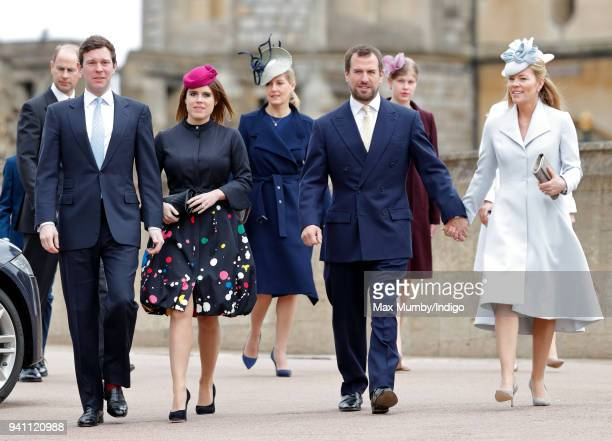 Prince Edward Earl of Wessex Jack Brooksbank Princess Eugenie Sophie Countess of Wessex Peter Phillips Lady Louise Windsor and Autumn Phillips attend...