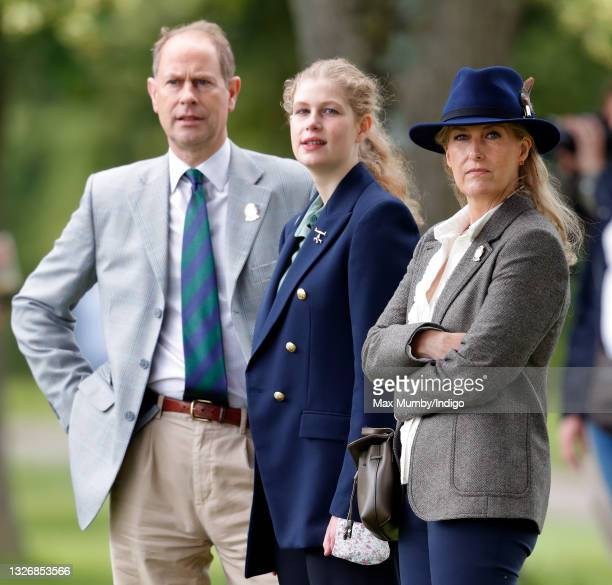 Prince Edward, Earl of Wessex, Lady Louise Windsor and Sophie, Countess of Wessex watch the carriage driving marathon event as they attend day 3 of...