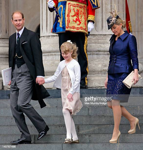 Prince Edward Earl of Wessex Lady Louise Windsor and Sophie Countess of Wessex attend a Service of Thanksgiving to celebrate Queen Elizabeth II's...