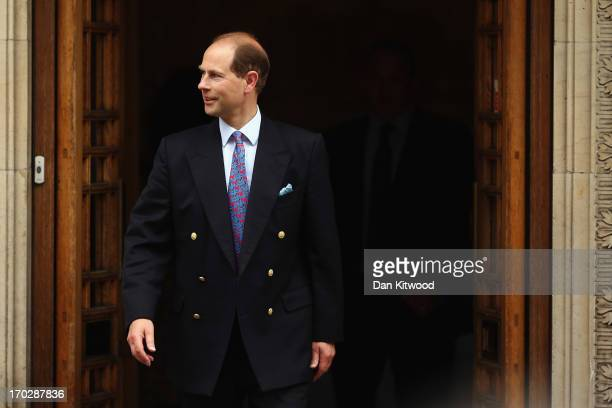 Prince Edward, Earl of Wessex leaves after a visit to Prince Philip, the Duke of Edinburgh as he celebrates his 92nd birthday in a London Clinic on...