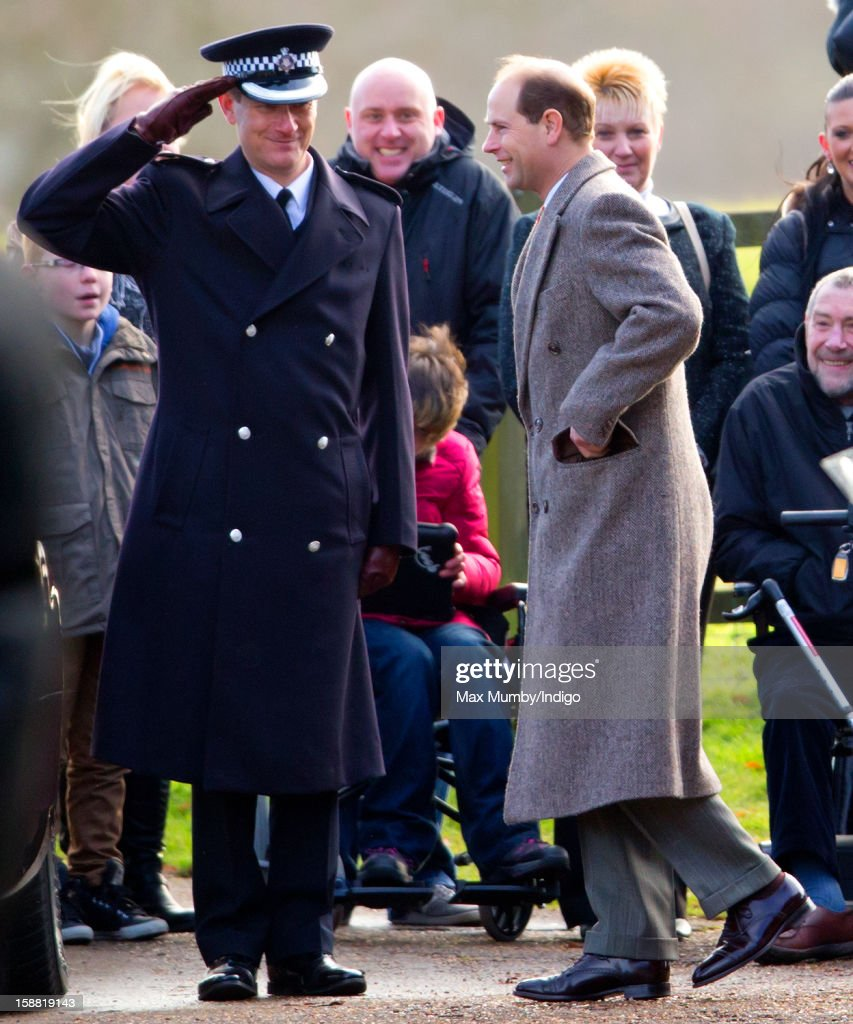 Prince Edward (R), Earl of Wessex leaves St. Mary Magdalene Church, Sandringham after attending Sunday service on December 30, 2012 near King's Lynn, England.