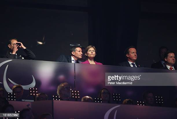 Prince Edward Earl of Wessex LOCOG Chairman Lord Sebastian Coe his wife Carole Annett Prime Minister David Cameron and Deputy Prime Minister Nick...