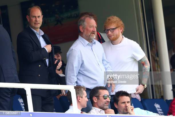 Prince Edward Earl of Wessex looks on alongside singer Ed Sheeran during the Group Stage match of the ICC Cricket World Cup 2019 between England and...