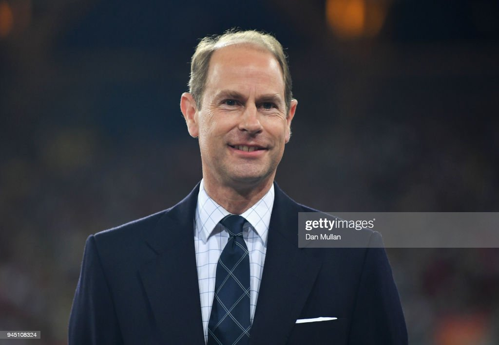 Prince Edward, Earl of Wessex looks on during the medal ceremony for the Women's 400 metres during athletics on day eight of the Gold Coast 2018 Commonwealth Games at Carrara Stadium on April 12, 2018 on the Gold Coast, Australia.