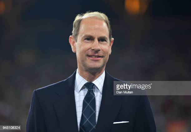 Prince Edward, Earl of Wessex looks on during the medal ceremony for the Women's 400 metres during athletics on day eight of the Gold Coast 2018...