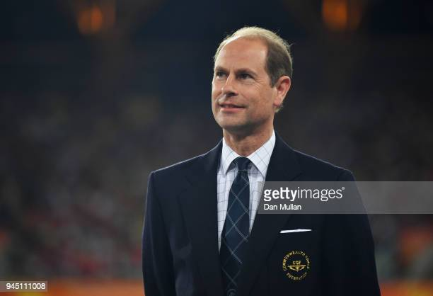 Prince Edward Earl of Wessex looks on during the medal ceremony for the Women's 400 metres during athletics on day eight of the Gold Coast 2018...