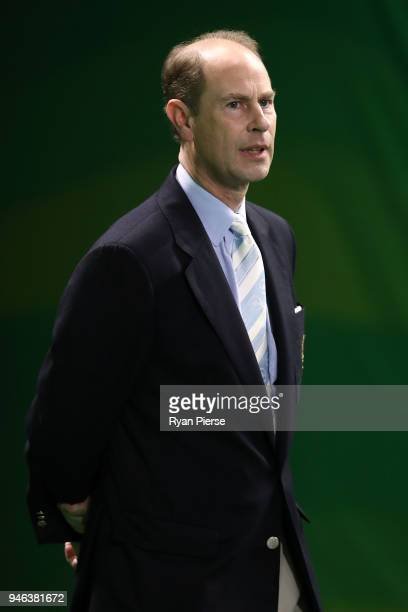Prince Edward Earl of Wessex looks on during the medal ceremony for the Men's Gold Medal Basketball Game between Australia and Canada on day 11 of...