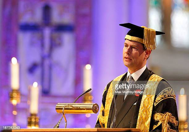 Prince Edward Earl of Wessex makes a speech during a service at Bath Abbey at which he was installed as Chancellor of the University of Bath on...