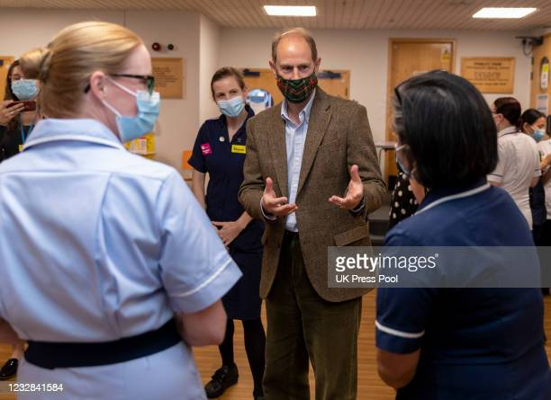Prince Edward, Earl of Wessex marks International Nurses Day with a visit to Frimley Park Hospital on May 12, 2021 in Camberley, England.
