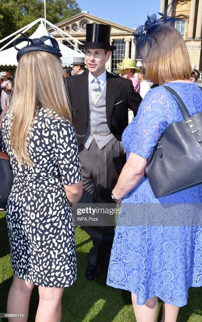 Prince Edward, Earl of Wessex meets guests during a garden party at Buckingham Palace on May 15, 2018 in London, England.