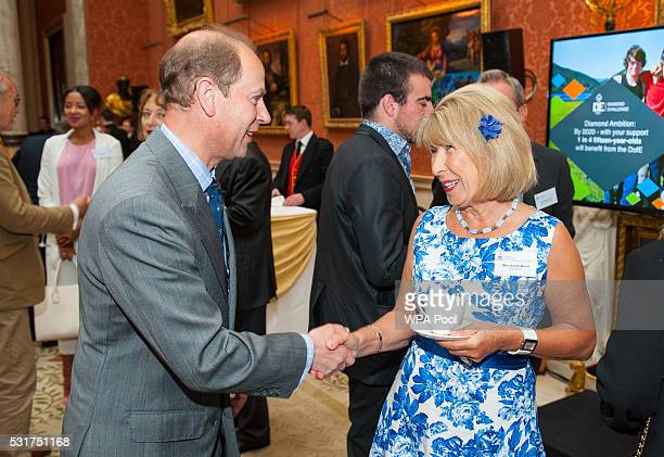Prince Edward Earl of Wessex meets journalist and television presenter Jennie Bond at a reception ahead of during the Duke of Edinburgh Award's 60th...