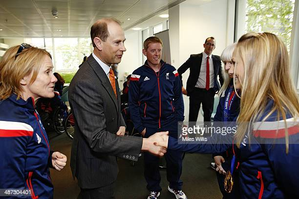Prince Edward Earl of Wessex meets ParalympicsGB athlete Charlotte Evans at a gathering to celebrate their performances at the Sochi 2014 Winter...