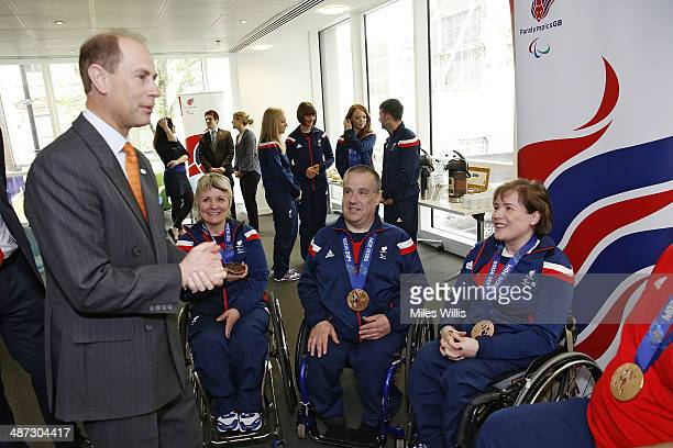 Prince Edward Earl of Wessex meets ParalympicsGB curling athletes Angela Malone Robert McPherson and Aileen Neilson at a gathering to celebrate their...