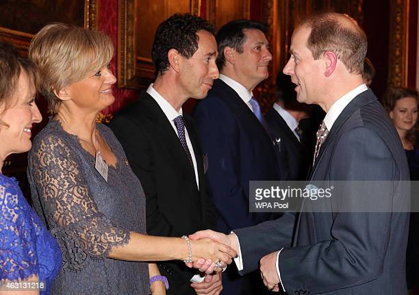 Prince Edward Earl of Wessex meets television presenter Alice Beer during a reception to celebrate the patronages affiliations of the Earl and...