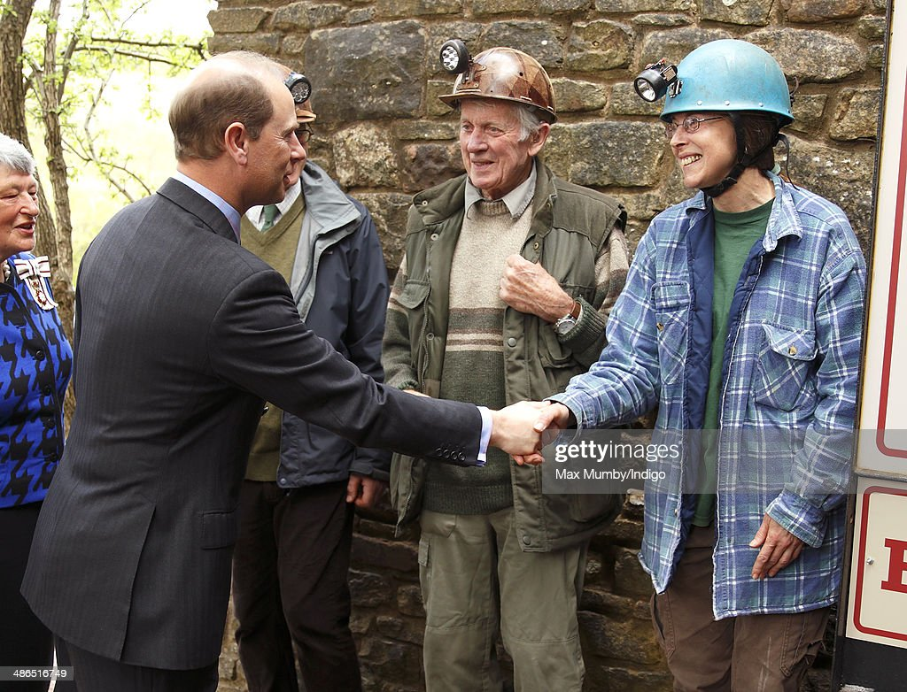Prince Edward, Earl of Wessex meets the Wright family, owners of Clearwell Caves, during a visit on a day of engagements in Gloucestershire on April 24, 2014 in Coleford, England.