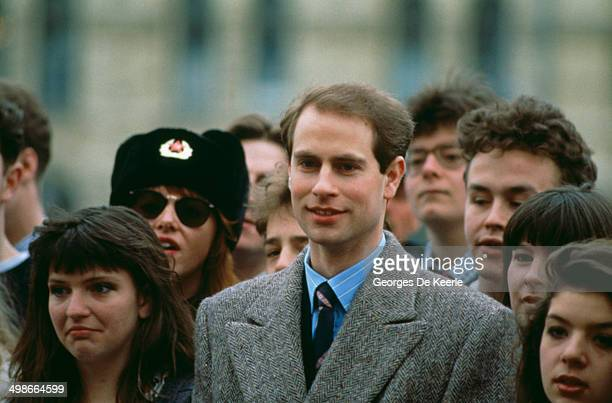 Prince Edward Earl of Wessex poses with British Members of the National Youth Theatre during a visit to Moscow Russia 17th April 1989