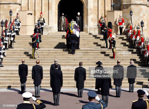 Prince Edward, Earl of Wessex, Prince Harry, Duke of Sussex, Prince Andrew, Duke of York, Peter Phillips, Princess Anne, Princess Royal, Prince...