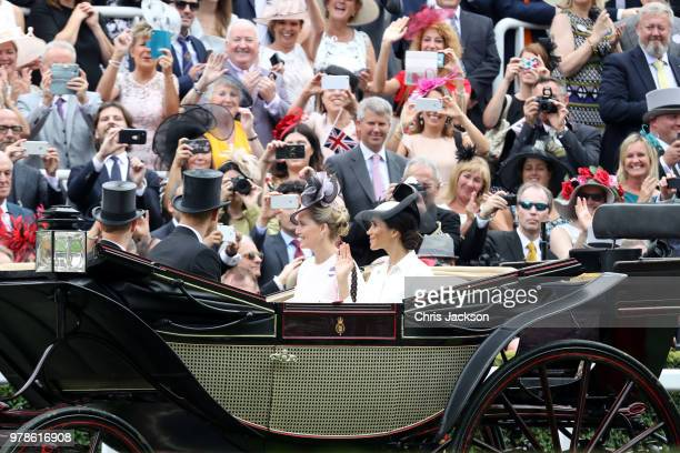 Prince Edward Earl of Wessex Prince Harry Duke of Sussex Sophie Countess of Wessex and Meghan Duchess of Sussex arrive by carriage to Royal Ascot Day...