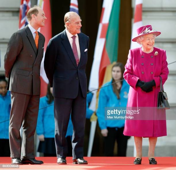 Prince Edward Earl of Wessex Prince Philip Duke of Edinburgh and Queen Elizabeth II attend the launch of The Queen's Baton Relay for the XXI...