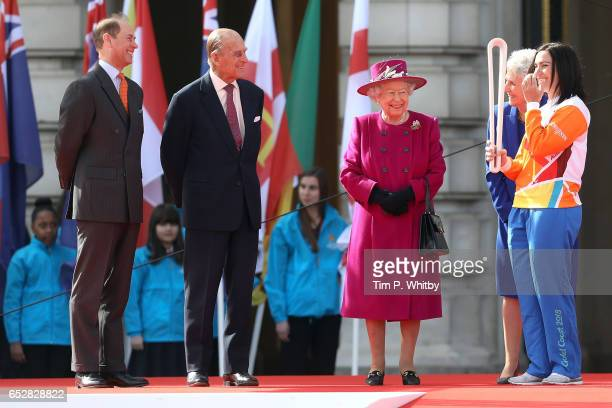 Prince Edward Earl of Wessex Prince Philip Duke of Edinburgh Queen Elizabeth II and Anna Meares attend the launch of The Queen's Baton Relay for the...