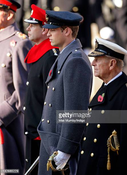 Prince Edward Earl of Wessex Prince William Duke of Cambridge and Prince Philip Duke of Edinburgh attend the Remembrance Day Ceremony at the Cenotaph...
