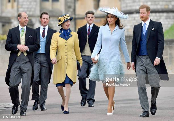 Prince Edward Earl of Wessex Princess Anne Princess Royal Lady Frederick Windsor and Prince Harry Duke of Sussex attend the wedding of Lady Gabriella...
