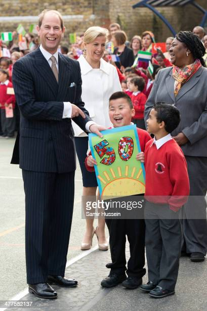 Prince Edward Earl of Wessex receives a Birthday card as he and Sophie Countess Of Wessex visit Robert Browning Primary School on the Earl's 50th...