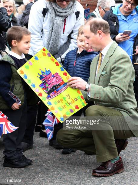 Prince Edward Earl of Wessex receives a handmade birthday card during a visit to a local community centre on March 10 2020 in Mersea Island United...