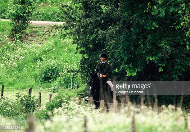 Prince Edward Earl of Wessex rides a horse at the Royal Windsor Horse Show at Home Park on May 16 1990 in Windsor England