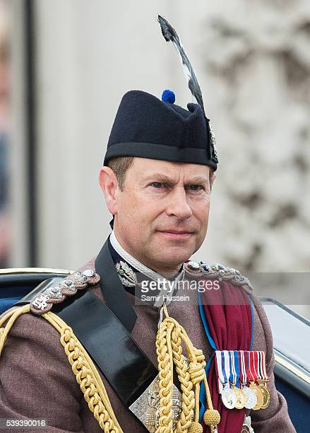 Prince Edward, Earl of Wessex rides by carriage during the Trooping the Colour, this year marking the Queen's official 90th birthday at The Mall on...