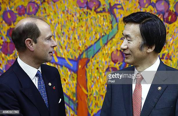 Prince Edward, Earl of Wessex shakes hands with South Korean Foreign Minister Yun Byung-Se before a meeting at the Ministry of Foreign Affairs on...