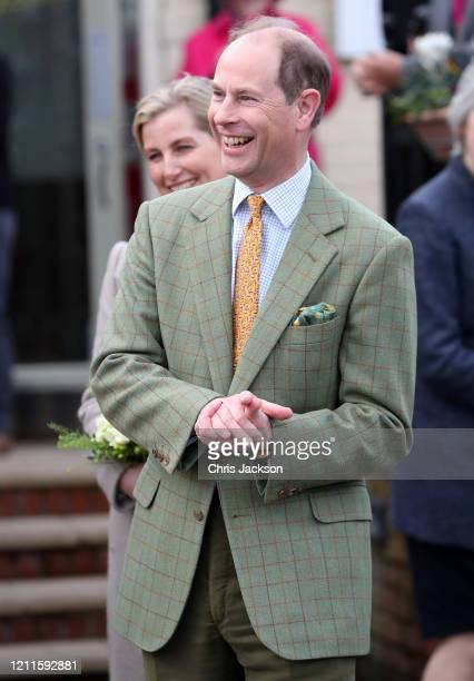 Prince Edward Earl of Wessex smiles at wellwishers after a visit to Tiptree Jam Factory with Sophie Countess of Wessex on March 10 2020 in Tiptree...
