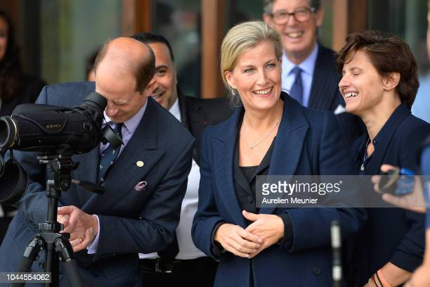Prince Edward Earl Of Wessex Sophie Countess Of Wessex and French Minister of Sports Roxana Maracineanu trie archery as they visit INSEP on October 2...