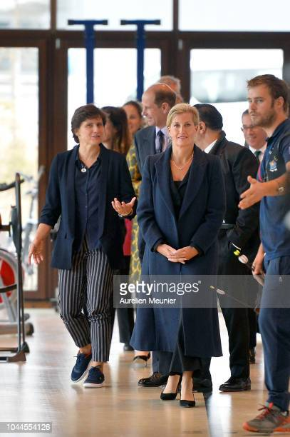 Prince Edward Earl Of Wessex Sophie Countess Of Wessex and French Minister of Sports Roxana Maracineanu visit INSEP on October 2 2018 in Paris France...