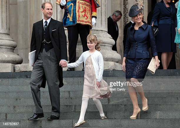 Prince Edward Earl of Wessex Sophie Countess of Wessex and Lady Louise Windsor leave a Service Of Thanksgiving at St Paul's Cathedral on June 5 2012...