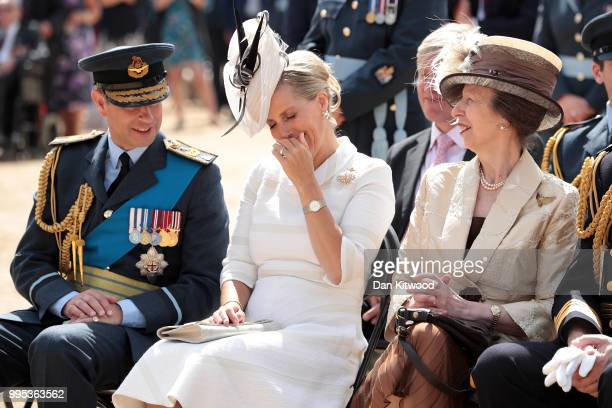 Prince Edward, Earl of Wessex, Sophie, Countess of Wessex and Princess Anne, Princess Royal attend the RAF 100 ceremony on Horse Guards Parade on...