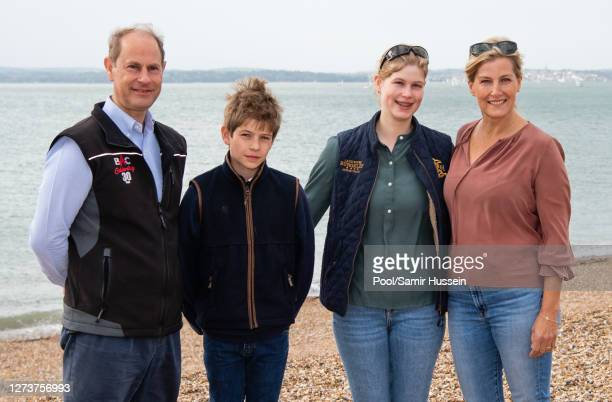 Prince Edward, Earl of Wessex, Sophie, Countess of Wessex, James, Viscount Severn and Lady Louise Windsor take part in the Great British Beach Clean...
