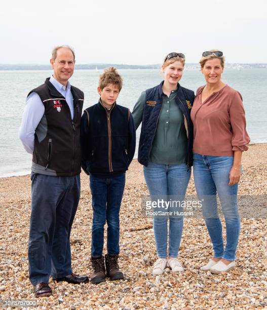 Prince Edward Earl of Wessex Sophie Countess of Wessex James Viscount Severn and Lady Louise Windsor take part in the Great British Beach Clean on...