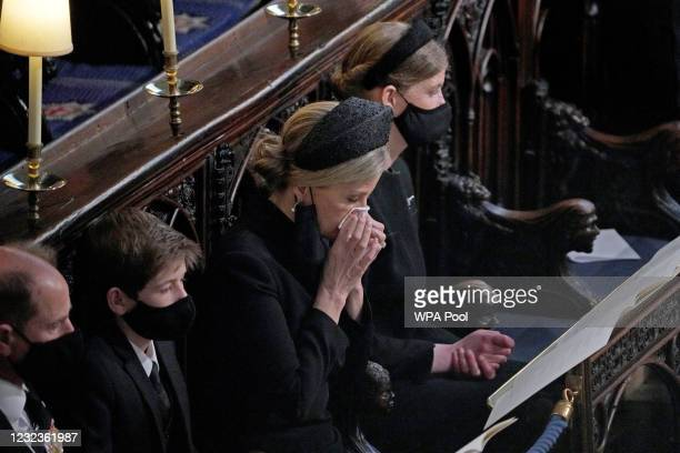 Prince Edward, Earl of Wessex, Sophie, Countess of Wessex, Lady Louise Windsor and James, Viscount Severn attend the funeral of Prince Philip, Duke...