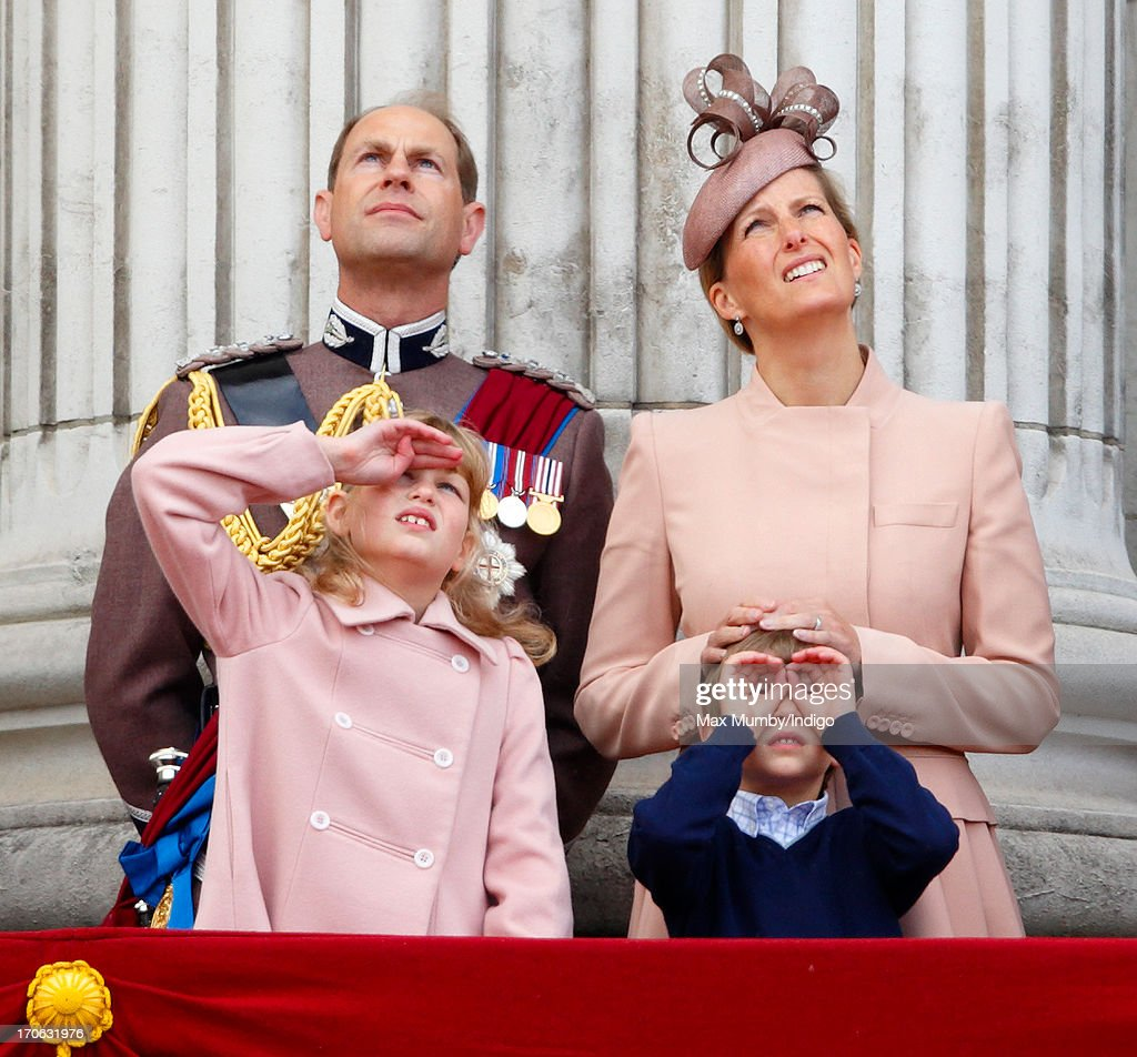 Prince Edward, Earl of Wessex, Sophie, Countess of Wessex, Lady Louise Windsor and James, Viscount Severn stand on the balcony of Buckingham Palace during the annual Trooping the Colour Ceremony on June 15, 2013 in London, England. Today's ceremony which marks the Queen's official birthday will not be attended by Prince Philip the Duke of Edinburgh as he recuperates from abdominal surgery. This will also be The Duchess of Cambridge's last public engagement before her baby is due to be born next month.