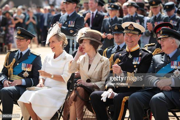 Prince Edward Earl of Wessex Sophie Countess of Wessex Princess Anne Princess Royal and Timothy Laurence attend the RAF 100 ceremony on Horse Guards...