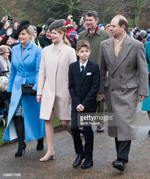 Prince Edward Earl of Wessex Sophie Countess of Wessex with James Viscount Severn and Lady Louise Windsor attend Christmas Day Church service at...